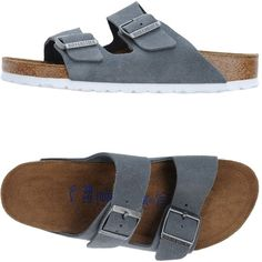 Birkenstock Sandals found on Polyvore featuring shoes, grey, animal shoes, leather footwear, genuine leather shoes, leather shoes and grey flat shoes