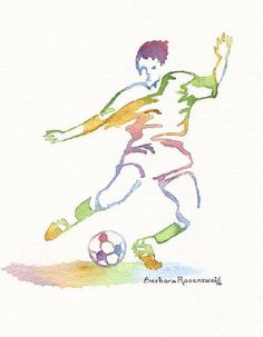 #Soccer Player #Sports #Art #Print #Wall #Decor #Athlete #Birthday #Holiday #Personalized #Gift This soccer player is part of my new series of uniquely colorful Sports Paintings. This is an experimental exploration into color and form. © 2012 by Barbara Rosenzweig, matted 11x14 art print of original $34 Free Shipping US - Etsy.