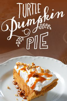 A delicious dessert that doesn't include actual turtles. Whip up a Turtle Pumpkin Pie tonight.