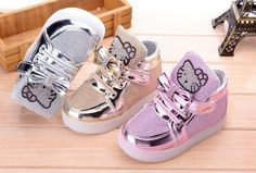Department Name: Toddler Item Type: Hello Kitty Light Up Shoes Closure Type: Hook & Loop Feature: Lighted Gender: Girls Outsole Material: Rubber Lining Material: Cotton Fabric Shipping: FREE - Worldwi Newborn Girl Outfits, Toddler Outfits, Kids Outfits, Toddler Girl Style, Toddler Fashion, Kids Fashion, Kid Shoes, Girls Shoes, Cute Baby Shoes