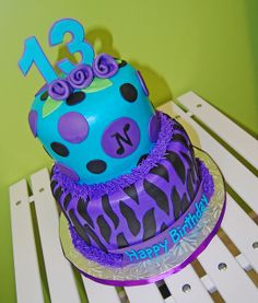purple, turquoise and black zebra print 13th birthday cake for a girl by Simply Sweets, via Flickr