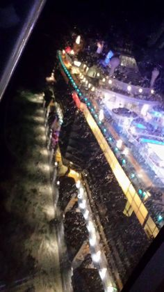 A view from the North Star at night on the Quantum of the Seas.