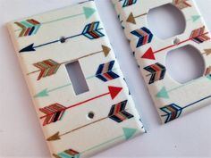 Arrow Light Single Switch Plate Cover / Coral Mint Metallic Gold / Nursery Decor Arrow Bedroom Decor Bohemian - Various Sizes Offered