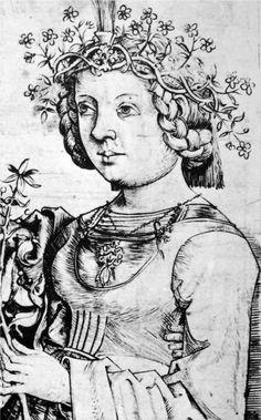 A detail of Lovers with Flowers. Attributed to Master bxg , active c. 1470-1490 - detail Stehfalten und Verschluss über der Brust