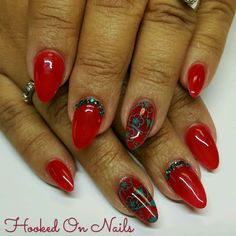 Candy apple red, red nails, almond shape, Hawaiian, swarovski crystals, nail stamping