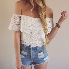 New Fashion Women's Sexy Lace Crochet Tops Off-Shoulder Tee Shirt Casual Blouse  Buy here: http://www.wholesalebuying.com/product/new-fashion-women-s-sexy-lace-crochet-tops-off-shoulder-tee-shirt-casual-blouse-23227