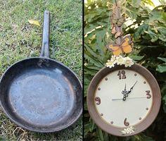 orologio da parete da una vecchia padella