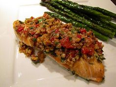 Roasted Salmon with Walnut Red Pepper Relish