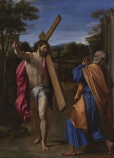 Carracci, Christ Appearing to Saint Peter on the Appian Way, 1601-2  NOTES:  - A psychological connection to the viewer as Annibale Carracci creates an exaggerated Peter
