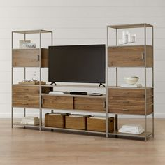Shop Knox Nickel Industrial Media Console with 2 Tall Storage Bookcases. The Knox Nickel Industrial Media Console with 2 Tall Open Bookcases is a Crate and Barrel exclusive. Open Bookcase, Bookcase Storage, Shelving, Ladder Storage, Console Storage, Storage Bins, Storage Ideas, Tv Stand Shelves, Tv Stand With Storage