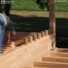 Building A House Discover Brikawood Wooden House Building Bricks The Brikawood Wooden House Building Bricks can be assembled into a house with no nails screws or glue. They just stick together in an intricate but at the Building A Wooden House, Wooden House Design, Small Wooden House, Tiny House Design, Wooden Home, Modern Wooden House, Pallet Building, Brick Building, Cabin Kits