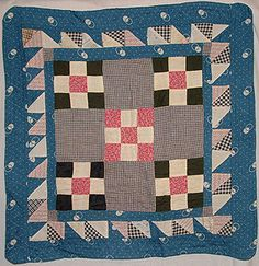 "Nine-patch/Double Nine-Patch Doll Quilt with Triple Border   c.1880   apx. 19""x 19"""