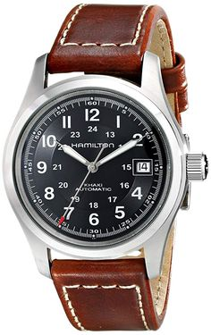 Hamilton Men's Khaki Field Black Dial Watch Stainless steel case with a brown leather bracelet with contrast stitching. Fixed stainless steel Best Watches For Men, Luxury Watches For Men, Cool Watches, Wrist Watches, Best Watch Brands, Luxury Watch Brands, Breitling, Seiko, Men's Watches