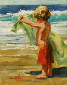 Little boy and his towel blowing at the beach. Galleries in Carmel California- Jones & Terwilliger - Corinne Hartley Art And Illustration, Illustrations, Art Brut, Painting People, Paintings I Love, Oil Paintings, Art Plastique, Love Art, Painting Inspiration