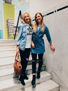 Double denim meets sports luxe styling with tees and trainers, our store staff have found their denim fit, find yours. #Topshop