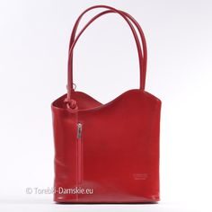 Czerwona torebka ze skóry - piękny kolor, przegroda wewnątrz, dwa paski na ramię można przekształcić w szelki plecaka i nosić tą oryginalną torebkę na plecach!