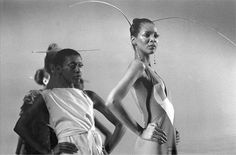 Models Bethann Hardison and Ramona Saunders, wearing Stephen Burrows, the Battle of Versailles fashion show, 1973. via Decades