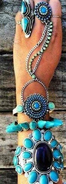 ➗Silver& Turquoise Boho Style