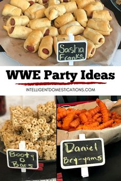 WWE Party Ideas (Wrestling Party) with food and decor on our party food buffet. We have fun using Pun name foods like Sasha Franks for Diva wrestler Sasha Banks and Daniel Bry-Yams for wrestler Daniel Bryan. See our list of wrestling pun name foods you can make for a wrestling theme birthday party, WWE Pay Per View or Wrestlemania party. Wrestling Birthday Parties, Wrestling Party, Birthday Party Themes, Pun Names, Wwe Party, Party Food Buffet, Birthday Traditions, Daniel Bryan, Food Themes