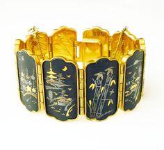 Amita Japan Bracelet Damascene Nature by zephyrvintage on Etsy
