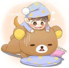 Giant puppy and giant rilakkuma ♡♡ Chanyeol Cute, Park Chanyeol Exo, Baekhyun, Exo Cartoon, Exo Fan Art, Kpop Drawings, Korean Art, Bts Chibi, Rilakkuma