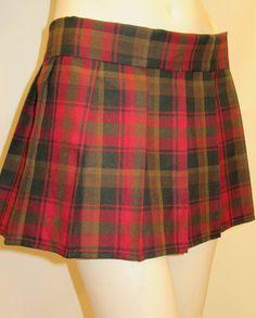 Maple Leaf Taran Plaid Pleated Skirt~Red Gold Color Pleated Plaid Skirt~Mini Plaid school girl skirt~Custom make skirts in Plaid@sohoskirts