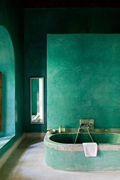 """Teal/Green Bath from """"Room Colours: An Expert Guide to Using the 14 Most Popular Colours Found in Your Home"""" in The Lux Pad"""