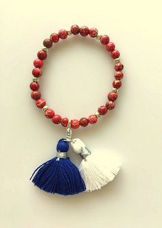 4th of July Red, White and Blue - Red Sea Sediment Jasper and Silver - Removable Tassels Bracelet - Adjustable by MagicalUniverse on Etsy