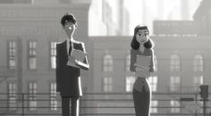 """""""Using a minimalist black-and-white style, the short follows the story of a lonely young man in mid-century New York City, whose destiny takes an unexpected turn after a chance meeting with a beautiful woman on his morning commute."""""""