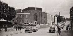 Looking across from Church Road at the Civic Centre and Crescent Road in the late 1950s.