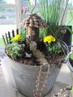 Fancilicious Fairylands: New Fairy Gardens - love the rope ladder
