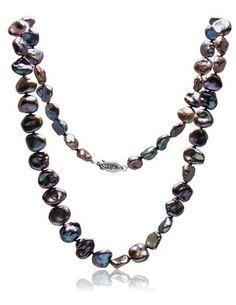 Dark Keshi Pearl Necklace  #keshipearls #pearlnecklace Pearl Necklace, Beaded Necklace, Necklaces, Keshi Pearls, Dark Purple, Green And Brown, White Gold, Jewels, Chain