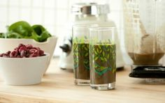 Get your greens smoothie 1.5 c unsweetened almondmilk 1.5 c. baby spinach 1.5 c. frozen cherries or berries.