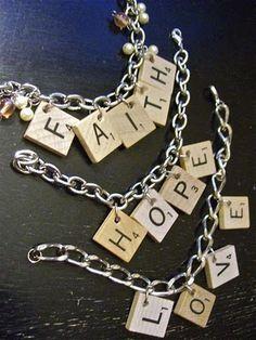 Scrabble charm bracelet