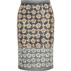 Biyan Martijn embellished canvas pencil skirt (12 655 UAH) ❤ liked on Polyvore featuring skirts, bottoms, faldas, pencil skirts, grey, biyan, multi color skirt, gray pencil skirt, multicolor skirt and knee length pencil skirt