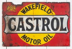 Early Castrol Enamel sign with Royal Crest Old Car Parts, Schlitz Beer, Round Logo, Metal Plaque, New Engine, Wakefield, Advertising Signs, Vintage Signs, Wall Signs