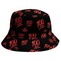 674606ec6b0 Capsule Design Cute Emoji 100 All Over Bucket Hat Black. Dope HatsCity  HunterFisherman s ...