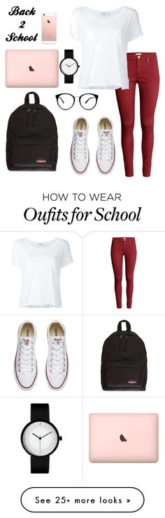 """""""Back 2 school #1"""" by leafashionpro on Polyvore featuring H&M, Frame Denim, Converse and Eastpak"""