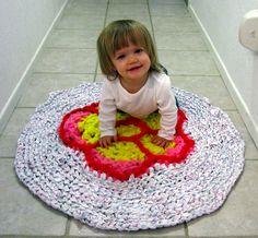 Vintage Style Rag Rug Baby's Flower Play Mat by SeaKnightsCraft