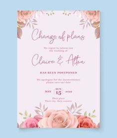 Floral postponed wedding card design. Download it at freepik.com! #Freepik #vector #wedding #floral #invitation #card