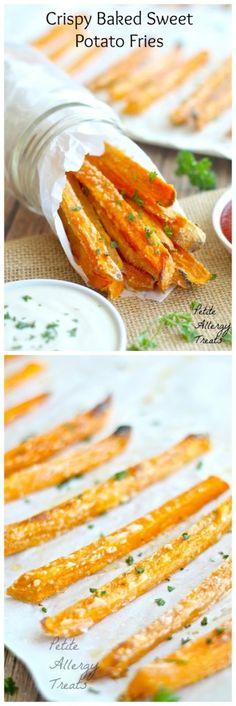 Sweet Potato Fries Crispy Baked- The BEST baked sweet potato fries easy with minimal oil, gluten free
