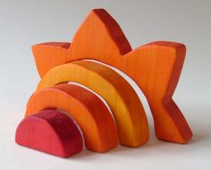 Sun Stacker - Waldorf Wooden Toy- Orange. $14.00, via Etsy.