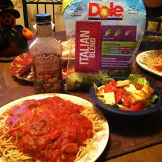 Salad and Spaghetti.