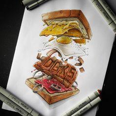 Blast steack sandwish for the @dgeekays_crew #copic #copicart #copicmarkers #sandwish #junkfood #burger #fooddrawing #foodillustration #creative #bestdrawing #bestdrawer #yummy #Regram via @tino_copic