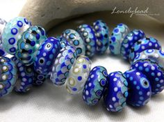 LONELYBEAD - handmade lampwork 36 art disc etched glass bead SRA - Blues - Set #Lampwork