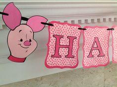 Pink PIGLET Pooh Bear Disney Happy Birthday by AllYourDieCutNeeds, $22.00