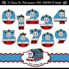 THOMAS THE TRAIN DIGITAL NUMBERS Great for scrapbooking, baby books, cake toppers, cupcake toppers, use as tags or signs, jewelry, hang from fixtures, confetti, magnets, invitations, thank you cards, stickers for balloons or gift bags, digital art, iron-on t-shirt transfers, and so much more!  ► YOU WILL RECEIVE: • 10 Printable Digital PNG files with transparent background. (Numbers 0-9) • High Resolution, 300 DPI Files • Files come in zip format. You will need software that supports PNG…
