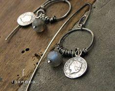 oxidized sterling silver & labradorite - earrings