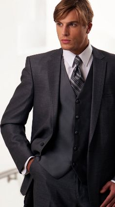 Grey Mezzo Wedding Suit by Oleg Cassini - for Opha and the groomsmen? Would we do a grey vest with tie in the wedding color, or vest the wedding color?