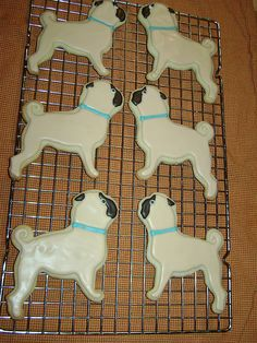 F Yeah Wrinkly Dogs, That many pugs would give me a tummy ache. Dog Cookies, Cute Cookies, Yummy Cookies, Sugar Cookies, Teacup Chihuahua, Pitbull, Shih Tzu Hund, Carlin, Pugs And Kisses